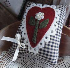 pRiMiTiVe Wool Applique Pillow~Valentine~Lacey Heart~Button Flower~Key~Folk Art~