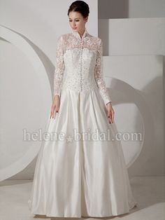 A-Line Ball Gown Princess High Neck Dropped Long Sleeve Non-Strapless Illusion Satin Lace Wedding Dress - WD6074 - US$ 289.99
