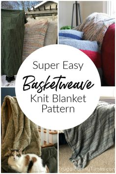 An easy knit blanket throw that doesn't look beginner! The modern basketweave de. - An easy knit blanket throw that doesn't look beginner! The modern basketweave design fits any dec - Easy Knitting Projects, Knitting For Beginners, Yarn Projects, Knitting Designs, Knitting Patterns, Easy Knit Blanket, Crochet Blanket Patterns, Modern Baskets, Do It Yourself Organization