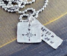 Men's Coordinates Necklace, Latitude Longitude Necklace, Personalized Hand…
