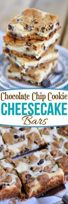 These easy Chocolate Chip Cookie Cheesecake Bars are made with just five ingredients! This easy dessert recipe will satisfy all your cravings! // Mom On Timeout Desserts Chocolate Chip Cookie Cheesecake Bars Oreo Dessert, Coconut Dessert, Brownie Desserts, Mini Desserts, Easy Yummy Desserts, Easy Dessert Bars, Creative Desserts, Birthday Desserts, Cheesecake Desserts