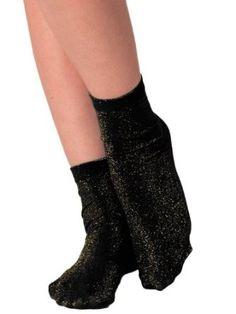 American Apparel Sparkle Calf-High Sock -Black / Gold American Apparel. $9.00