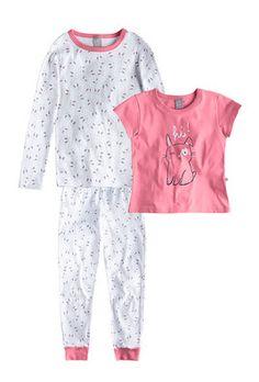 Pijama Triplex Infantil Menina Com 2 Blusas E Calça