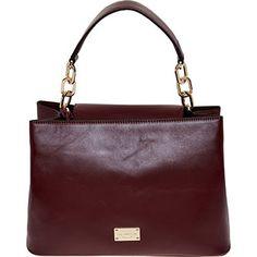 Plum Leather Shoulder Bag