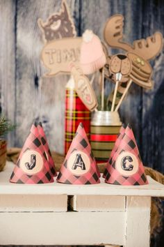 Boys Lumberjack Themed Birthday Party Welcome Table