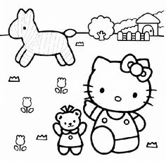 Cartoon Hello Kitty Preschool Coloring Pages Zebra