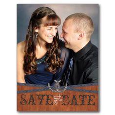Blue Western & Dark Wood Save the Date Postcards