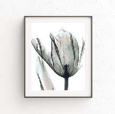 Modern Flower Cross Stitch Pattern Tulip Embroidery Chart Printable PDF Black and White Minimalist Wall Decor Natural Floral Silhouette DIY