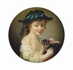 Circle of François Hubert Drouais (Francia, Niña con un gato. Round Canvas, Cat People, Entourage, All Art, 18th Century, Art History, Oil On Canvas, Sculptures, Fine Art