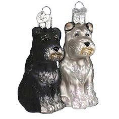"""Schnauzer Dog Christmas Ornament 12264 3 1/2"""" Mouth blown, hand painted, glass Christmas ornament from Merck Family's Old World Christmas Dogs selflessly give humans their unconditional"""