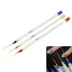 3pcs/set Nail Art Design DIY Drawing Painting Striping Nail Gel Pen Nail Art Brushes Set Dotting Tools Drop Shipping Wholesale
