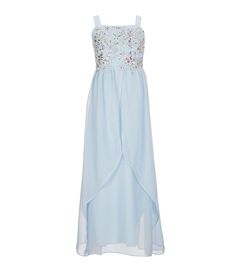 Ice blue bridesmaid dress: square neckline, sparkling beading details on the bodice, high-low overlay, a great choice for a summer wedding.