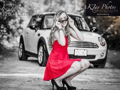 Mini Cooper Bug Senior Pictures with car.  Madison, WI Photographer, K Jay Photos Photography services.  www.kjayportraits.com