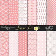 Pink background papers Backgrounds scallops, arrows, chevrons, damask and more