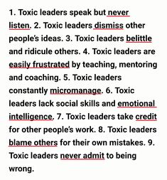 Toxic leaders speak but never listen. Toxic leaders dismiss other people. Good Job Quotes, Bad Boss Quotes, Work Quotes, Quotes For Kids, True Quotes, Qoutes, Environment Quotes, Bullying Quotes, Blaming Others