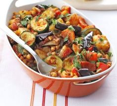 Roast summer vegetables & chickpeas