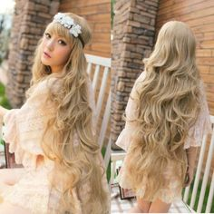 100cm-Long-Womens-Lady-Curly-Wavy-Full-Wig-Hair-Blonde-Party-Cosplay-Anime