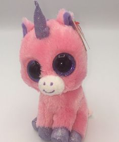 TY BEANIE BOO BOOS MAGIC THE UNICORN PINK PURPLE 6
