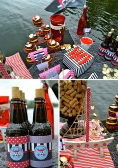 Snacks and table decorations for a pirate party - love the cork jar!