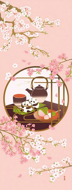 Japanese Tenugui Cotton Fabric Kawaii Panda & by JapanLovelyCrafts Japanese Flowers, Japanese Fabric, Japanese Prints, Japanese Wall Art, Tea Wallpaper, Cherry Blossom Art, Japan Illustration, Tea Art, Japanese Patterns