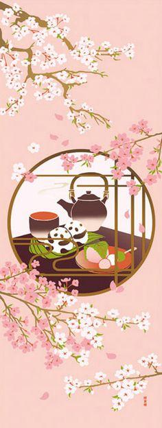 Japanese Tenugui Cotton Fabric, Kawaii Panda & Cherry Blossom, Sakura Flower, Tea Ceremony, Hand Dyed Fabric, Kawaii Art Wall Decor, JapanLovelyCrafts