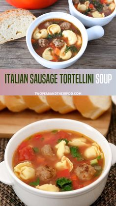 If you re looking for a new comfort food then this Italian sausage soup with tortellini is something you should try It is loaded with all-sausage cheese pasta and veggies Perfect as a hearty and healthy meal for the family Slow Cooker Tortellini Soup, Italian Sausage Tortellini Soup, Spinach Tortellini Soup, Slow Cooker Soup, Easy Soup Recipes, Dinner Recipes, Healthy Recipes, Crockpot Recipes, Food Dinners