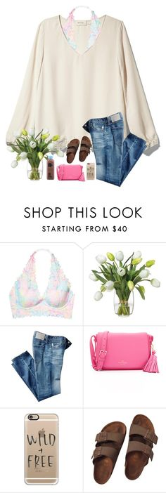 """""""•sarah•"""" by leawhite ❤ liked on Polyvore featuring Rhyme Los Angeles, Victoria's Secret, Diane James, AG Adriano Goldschmied, Kate Spade, Casetify and Birkenstock"""