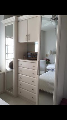 A Cute Little Dual Full Body Mirror Closet With Center Drawers! Designed By  Ashley