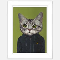 Framed Cat Print Vincent now featured on Fab.  Face looks like my cat but she would be in a designer  black and white pants suit.