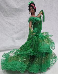 "Vintage MARIN CHICLANA Spanish Flamenco Dancer Collectors Doll 11"" Green Dress #DollswithClothingAccessories"