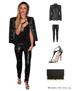 Cheryl Cole wearing Balmain Tweed Blazer, Balmain Quilted leather skinny pants. Shop this style here http://wheresthatstyle.com/celebrity_photos/1104-cheryl-cole