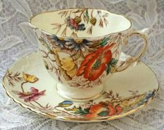 I give my daughter a different piece of this pattern for Mother's day. She loves it because it matches her brown transfer patterned dishes. Tea Cup Set, My Cup Of Tea, Tea Cup Saucer, Tea Sets, Vintage Cups, Shabby Vintage, Vintage Tea, Vintage Floral, Teapots And Cups