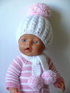 Baby Born Knitting Dolls Clothes, Knitted Dolls, Doll Clothes Patterns, Doll Patterns, Knitting Patterns, Crochet Patterns, Baby Born Kleidung, Baby Born Clothes, Bitty Baby