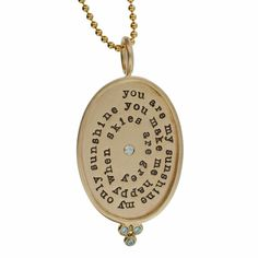 """Solid Gold Rimmed Oval Necklace - 14k 7/8"""" Oval Charm with Chandelier and Diamonds - Solid Gold Ball Chain"""