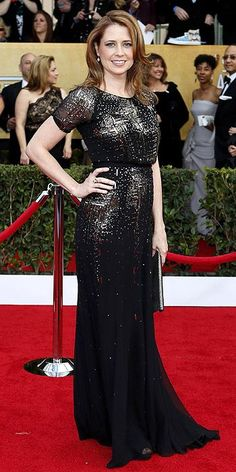 Screen Actors Guild Awards 2013: Jenna Fischer in a silver-accented Jenny Packham dress. She finished her luxe look with loose curls and an oversize clutch.