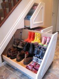 Great idea under stair shoe storage -repin by www.organizediy.com/join  #shoeideas, #organizedshoes