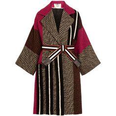 Fendi Patchwork wool-blend bouclé coat ($4,265) ❤ liked on Polyvore featuring outerwear, coats, fendi, jackets, coats & jackets, grey, gray leather belt, fringe coat, fendi coat and grey coat
