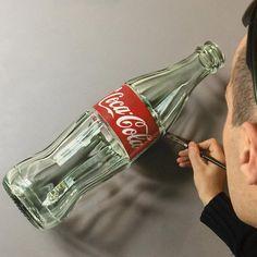 Hyper-realistic Illustrations by Marcello Barenghi #illustration #art Coke Bottle