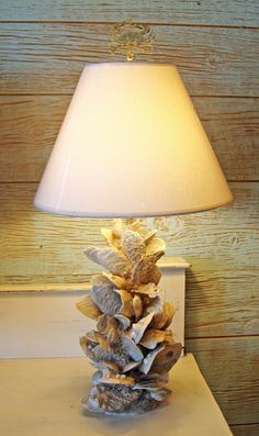 shells on old lamp. awesome. | Beach House Decorating Ideas ...