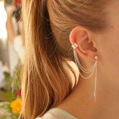 Wholesale Leaf Ear Cuff - Buy Hot Fashion Women Girl Stylish Punk Rock Leaf Chain Tassel Ear Cuff Wrap Gold Silver Tone Earring Jewelry Free Ship, $3.29   DHgate.com