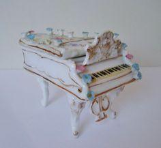 miniature porcelain pianos   German Porcelain Victorian Miniature Doll House Furniture Grand Piano ...