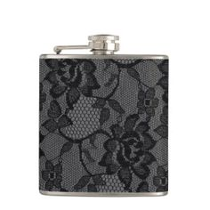 311 Black and Gray Lace Girly Flask