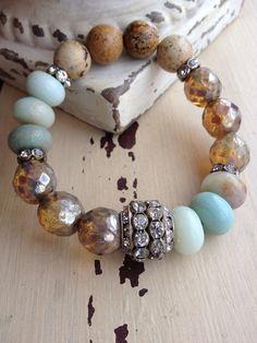 Mixed gemstone Bohemian glam blue neutral por MarleeLovesRoxy