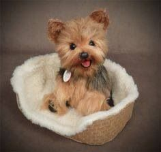 Suze, the needled felt Yorkie, has her own little bed.