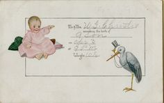 Beautiful Vintage New Baby Announcement Postcard Victorian 1918