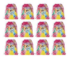 """New Disney Princess Non Woven Sling Bag with Hangtag (5 Princess) x 12. Official Licensed Product. Item Size: 14"""" x 11"""" x .25"""". Durable construction, For age 3+. MAKE PERFECT GOODIE BAGS FOR BIRHDAY FAVORS. 12 Sling Bags Included."""