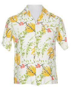 50s Silk Banana Print Hawaiian Shirt - L/XL