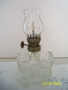 Vintage Miniature Covered Wagon Clear Oil Lamp