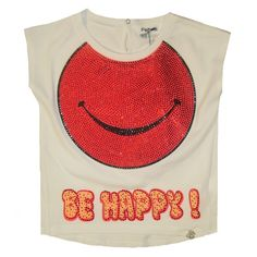 So Twee by Miss Grant Girls White 'Be Happy' Diamante T-Shirt