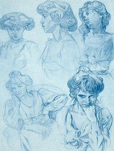 Drawing study by Alphonse Mucha*